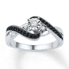 Charmant Silver Wedding Rings With Black Diamonds