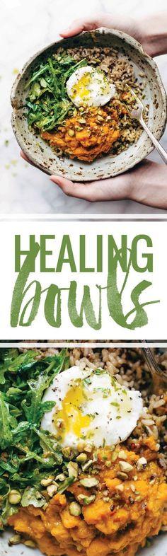 Healing Bowls: turmeric sweet potatoes, brown rice, red quinoa, arugula, poached egg, lemon dressing