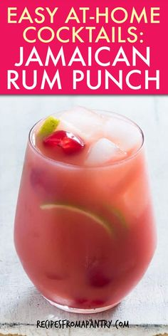 This delicious and colourful Jamaican Rum Punch is the perfect make-ahead drink needing only 5 ingredients! A great, easy and refreshing Jamaican Rum Punch Recipe for a crowd. This Caribbean Rum Punch cocktail is great to serve all year long. Caribbean Rum Punch Recipe, Jamaican Rum Punch Recipes, Rum Recipes, Caribbean Recipes, Shot Recipes, Rum Punch Cocktail, Rum Cocktail Recipes, Cocktail Drinks, Tropical Drink Recipes