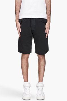 PIERRE BALMAIN Washed black cut off Sweat Shorts