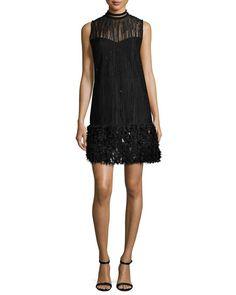 Mirage Beaded Georgette Cocktail Dress, Black