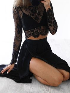 Sexy Black Long Sleeve 2017 Prom Dress Two Pieces Lace Front Split_High Quality Wedding Dresses, Quinceanera Dresses, Short…