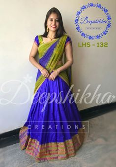 Half Saree Designs, Bridal Blouse Designs, Lehenga Designs, Saree Blouse Designs, Half Saree Lehenga, Lehnga Dress, Sarees, Kalamkari Dresses, Ikkat Dresses