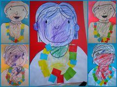 De ketting van mama: peuters kleuren een mama, en versieren de ketting met gekleurde stukjes papier *liestr* Painting, Father's Day, Painting Art, Paintings, Painted Canvas, Drawings