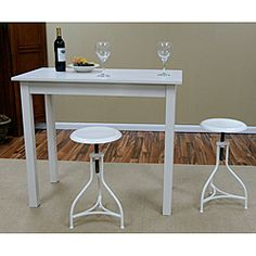 @Overstock - Our Pavina Pub bar table provides extra counter space in a small kitchen and a great place for morning coffee. This table's strong, simple lines and compact size make it perfect for areas where floor space is limited.http://www.overstock.com/Home-Garden/Antique-White-Pavina-Pub-Bar-Table/6542546/product.html?CID=214117 $174.99