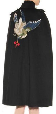 Appliquéd Wool Cape Coat in Black