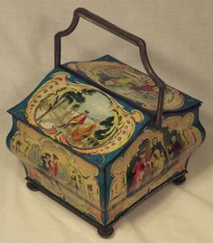 antique huntley and palmer watteau biscuit tin c1903