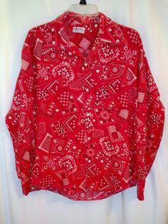 "Vtg Red Bandana Print Snap Front Western Cowboy Rockabilly Shirt 44"" Chest…"
