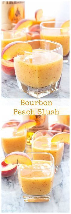 Bourbon Peach Slush ~ bourbon, peaches, and ginger ale are blended together in this delicious and easy to make cocktail! Party Drinks, Cocktail Drinks, Fun Drinks, Yummy Drinks, Cocktail Recipes, Yummy Food, Beverages, Tasty, Healthy Drinks
