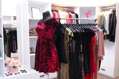 Velvet and roses. Pink, red & gold dresses, party collection, for the prettiest girls in town! Red And Gold Dress, Red Gold, Boutique Interior, Pretty Girls, Roses, Velvet, Party, Pink, Collection