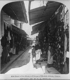 Athens street of shoes 1901 by janwillemsen, via Flickr
