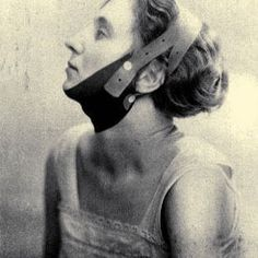 The Chin Strap. Developed in 1924 to reduce double chins. The strap would give the face more contour by training the neck muscles. Made of rubber. . . . 📸: Unknown. Contact me for credits!