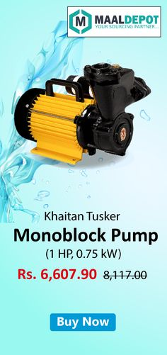 Khaitan Tusker Monoblock Pump-Made up from the stainless steel shaft for avoiding rust problem. Totally Enclosed, Fan-Cooled (TEFC) and safe from dust & moisture. Shop at http://bit.ly/2aI9gHV for affordable prices. To place orders,call or whatsapp to 9019156789
