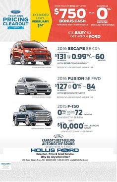 We have taken advantage of all of the Ford incentives along with our price reductions to come up with these low offers through until February 1st, 2016.  Hollis Ford... Why Go Anywhere Else!