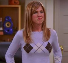 """Rachel's """"hanging out at the mall in sweater. Argyle Sweater Vest, Ribbed Sweater, Grey Sweater, Rachel Green Friends, Rachel Green Style, Thick Sweaters, Cool Sweaters, Rachel Bright, Orange Sweaters"""