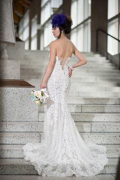 Custom Made Couture Split Fit-n-Flare Wedding Dress-Sheer Back (Style # JULIET PB137)-Made to Order