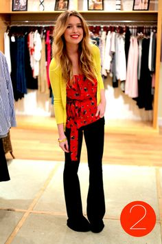 mustard + red + jeans