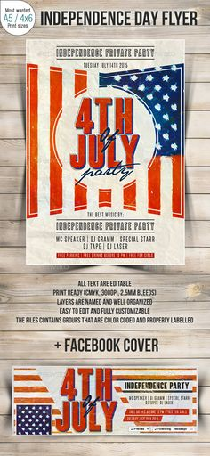 4th of July Party Flyer Fonts, Memories and Military - independence day flyer