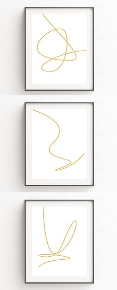 This collection of three minimalist art prints are made from single gold lines. Each of the three digital prints features a single line with unique curves, loops, and angles to create simple abstract line art perfect for a simple interior. #MinimalistArt #Minimalist #LineArt #WallArt #ModernHomeDecor