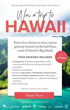 Enter to Win an all-inclusive Kalani Experience Retreat Getaway in Hawaii! Camping Places, Win A Trip, Enter To Win, Travel Goals, Hawaii Travel, Oh The Places You'll Go, Dream Vacations, Things I Want, Yoga Journal