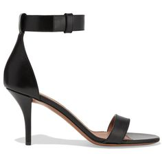 Givenchy Retra sandals in black leather (2.320 BRL) ❤ liked on Polyvore featuring shoes, sandals, black, high heel shoes, black ankle strap sandals, buckle sandals, black buckle sandals and black leather shoes