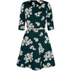 Yumi Green Monochrome Floral Long Sleeved Dress ($90) ❤ liked on Polyvore featuring dresses, green waist belt, waist belt, blue waist belt, blue floral dress en flower print dress