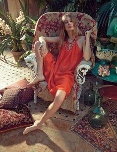 Tropical Bohemian Princess Editorials - The Vogue UK April 2014 Editorial Stars Natasa Vojnovic (GALLERY)