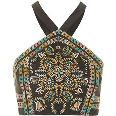 TOPSHOP Embroidered Bralet ($35) ❤ liked on Polyvore featuring tops, crop tops, shirts, bralet, black, black top, bohemian shirts, black crop top, crop shirts and embroidered top