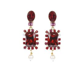 Oscar de la Renta Bold Crystal Pearl Drop Multi Stone Earrings (€385) ❤ liked on Polyvore featuring jewelry, earrings, bordeaux, crystal clip on earrings, art deco earrings, nickel free earrings, clip earrings and flower clip on earrings