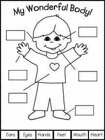Collection of Preschool coloring pages body parts Body Preschool, Preschool At Home, Preschool Themes, Preschool Science, Preschool Worksheets, Preschool Learning, Toddler Preschool, Learning Activities, Preschool Activities