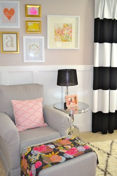 instead of painting stripes on wall paint walls grey with black and white curtains for bold statement