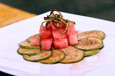 Carpacio de zucchini cu tartar de pepene verde - www.Foodstory.ro Zucchini, Tuna, Fish, Meat, Vegetables, Green, Summer Squash, Pisces, Vegetable Recipes