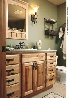 Guest Bath Idea Hickory Cabinets Dark Trim Love It