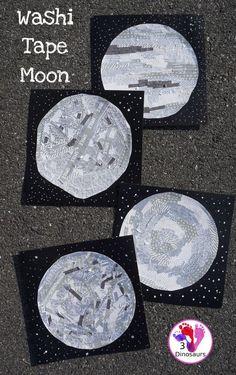 Washi Tape Moon - fun fine motor moon craft for kids to make - 3Dinosaurs.com