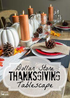 Dollar Store Thanksgiving Tablescape - Bless'er House