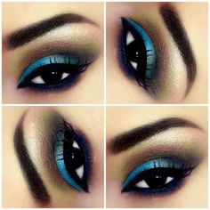 Dramatic turquoise and brown eyeshadow