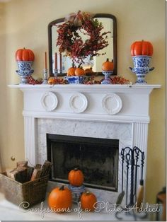 DIY Fall Mantel Decor Ideas to Inspire! Do it Yourself Farmhouse Style with Galvanized Steel Elements Fall Mantel Inspiration Home Decor Ideas for Autumn via Confessions of a Plate Addict Fall Fireplace Decor, Fall Mantel Decorations, Mantel Ideas, Pumpkin Decorations, White Fireplace, Thanksgiving Decorations, Table Decorations, Fall Home Decor, Autumn Home