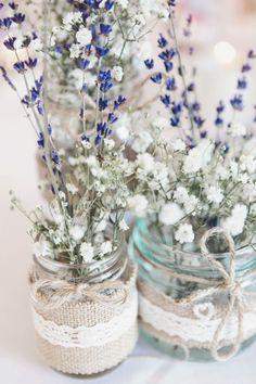 Jar Lavender Gypsophila Baby Breath Flowers Tables Centrepiece