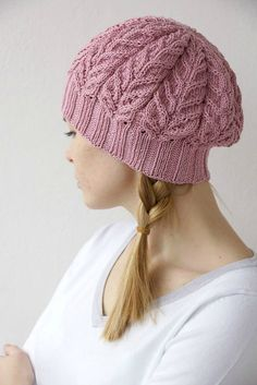 Hand knitted spring winter beret  chunky pink hat by SockClub, $55.00