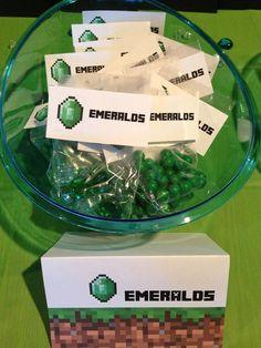Minecraft Party Minecraft Emerald Birthday Party Favor by MinecraftPartySolved