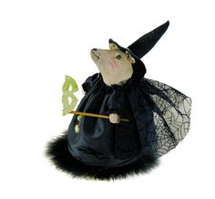"""8"""" Tall painted fabric mouse in witch Halloween costume. A Joe Spencer of Gathered Traditions Design for Gallerie II."""