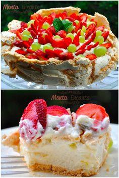 Pavlova de frutas –A Pavlova é uma sobremesa a base de merengue, em formato de bolo. Bolo de Suspiro ou um Bolo de Merengue. Crocante por fora e macia por dentro É perfeito o equilibrio de s…
