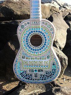 Mosaic Guitar by Crooked Moon Mosaics, via Flickr