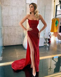 Elegant Cocktail Straight Side Slit Sequin Mermaid For Young Girls Evening Long Prom Glam Dresses, Pretty Dresses, Beautiful Dresses, Fashion Dresses, Red Prom Dresses Mermaid, Short Party Dresses, Bling Prom Dresses, Event Dresses, Dress Prom