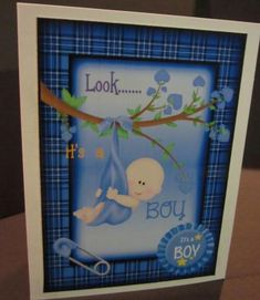 baby boy tartan frame on Craftsuprint designed by Gail Collins - made by Elizabeth A  Sanders - Printed on high quality glossy photo paper. Cut out pieces. Attached card front to which card stock with sticky tape. Then attached insert to inside of card with sticky tape. - Now available for download!