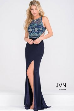Sexy navy floor length fitted sleeveless prom dress with embellished sheer bodice, side cutouts and an open back and with a high slit, also available in white.