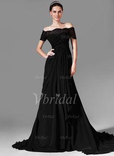 Abendkleider - $151.88 - A-Linie/Princess-Linie Schulterfrei Hof-schleppe Chiffon Abendkleid mit Spitze Perlenstickerei (01705020910)