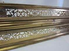 New this week we have a beautiful Brass Fireplace Fender. It has a lovely pierced design with fans and Acanthus leaves. The fender was most likely produced in the United States in the It would look great in a restored Victorian home. Fireplace Fender, Acanthus, New Week, Victorian Homes, Restoration, Fans, United States, Leaves, Beautiful