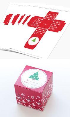 Caxinha para Presente de Natal - Tamanho: 5 x 5 cm. Download Gratuito: Faça você mesmo: imprima, recorte e monte!