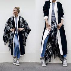 Zara Jean, Asos Plaid, Asos Manteau Ample Blanc, Asos Manteau Ample Noir, Amazon Converse, American Apparel T Shirt Gris